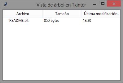 Vista de árbol (Treeview) con columnas en Tcl/Tk (tkinter)