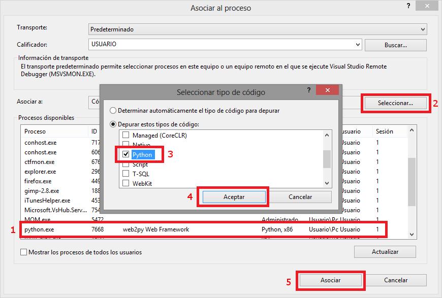 Asociar depurador a web2py en Visual Studio