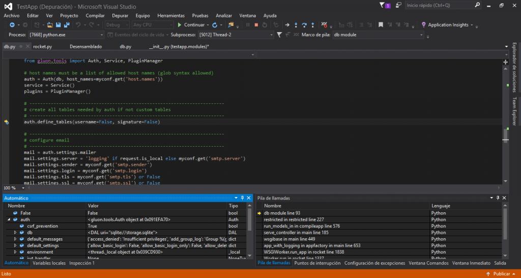 Depurador en web2py en Visual Studio