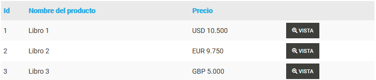 Tabla de productos con precios en web2py