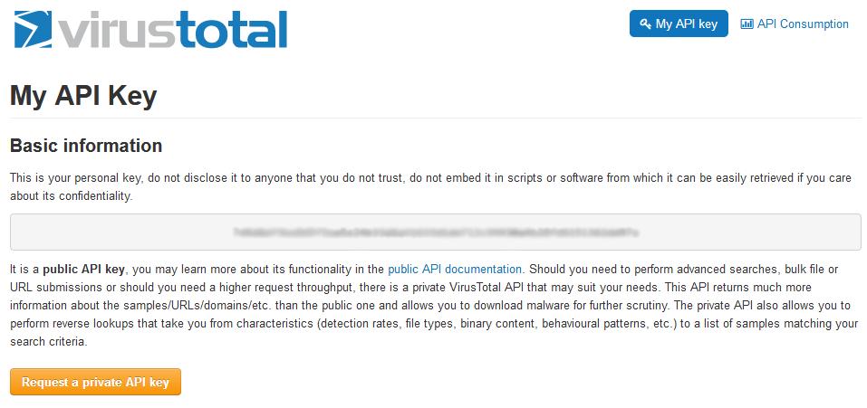 API pública de VirusTotal
