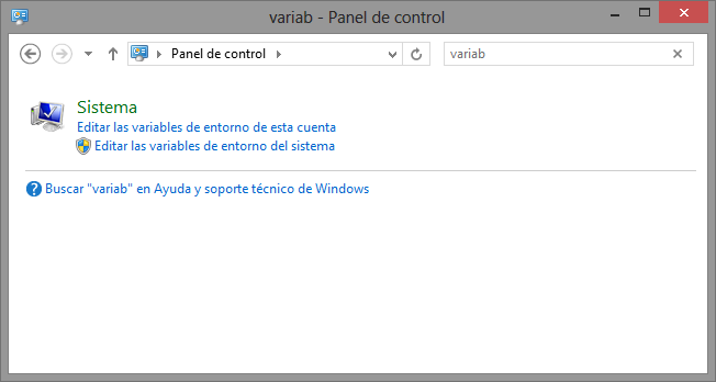 Panel de control Windows 8