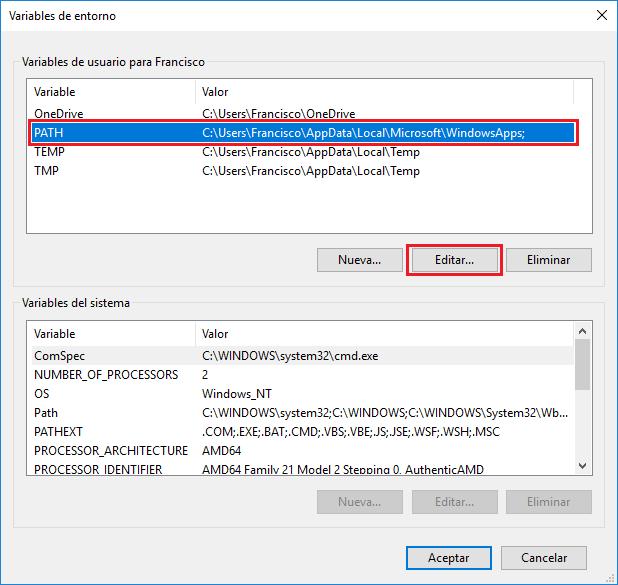 Variables de entorno Windows 10