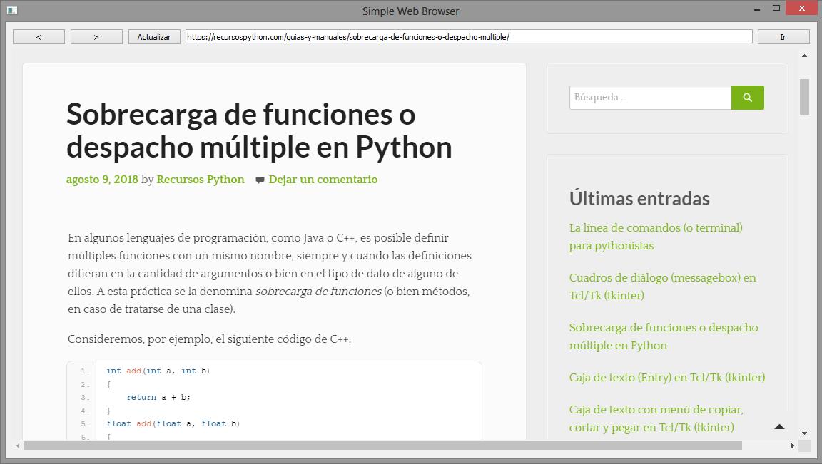 Navegador web simple con PyQt 5